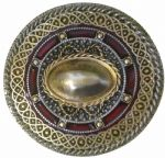 24ct. Gold and Silver Plated / Colour Celtic Round Belt Buckle with display stand. Code PE7